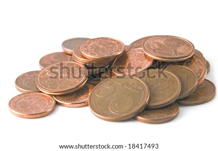 Pile of coins: 1,2 and 5 euro cents - isolated on white, shallow focus - stock photo