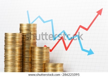 Pile of coins and graph. Asset management. Pile of 500 yen coins with upside growing and downside declining arrows graph.  - stock photo