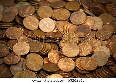 Pile of Coins from the USA. - stock photo