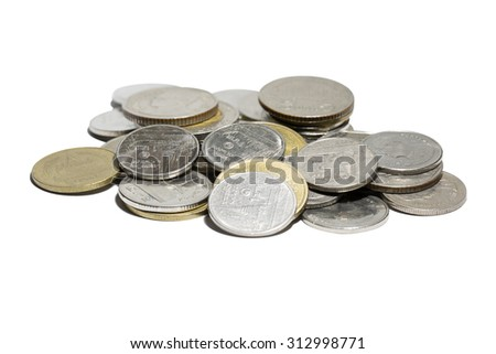 Pile of coins, Isolated on white background