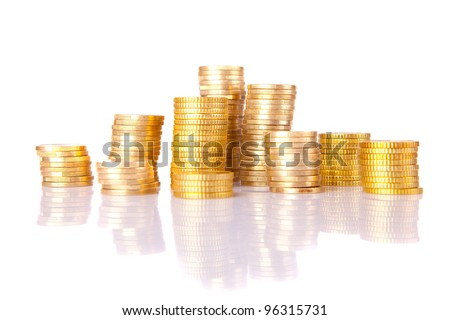 Pile of coins, isolated over white - stock photo
