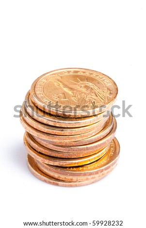 pile of coins on white background - stock photo