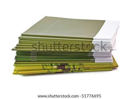 Pile of color magazines isolated on white background - stock photo