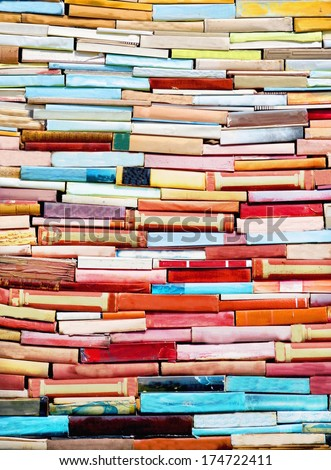 pile of  colorful books - stock photo