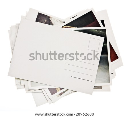 pile of colorful cards on white background - stock photo
