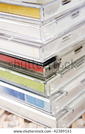 Pile of colorful CD?s - stock photo
