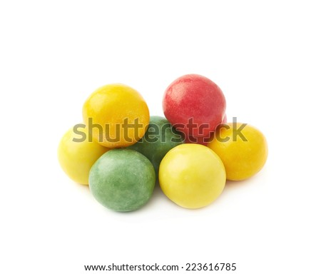 Pile of colorful chewing gum ball sweets, isolated over the white background - stock photo