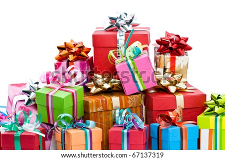 Pile of colorful christmas presents isolated on white background - stock photo