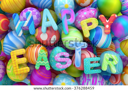 Pile of colorful Easter eggs with Happy Easter - stock photo