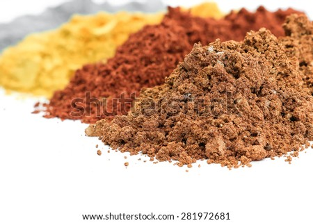 Pile of colorful effect pigments powder for coating. - stock photo
