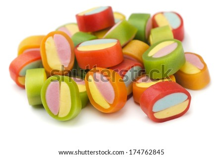 Pile of colorful gummy candies isolated on white - stock photo