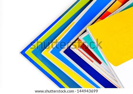 Pile of colorful magazines - stock photo
