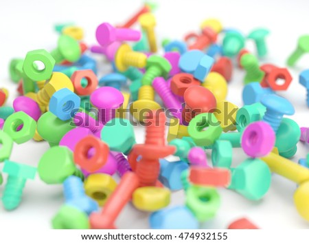 Pile of colorful mix of toy screws, bolts and nuts. Realistic 3D illustration of colorful toys with depth of field blur effect.