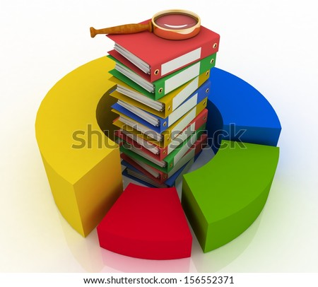 Pile of colorful office folders with metal rings and a magnifying glass in a circular multicoloured diagram. 3-D illustration isolated on white background. - stock photo