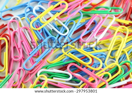 pile of colorful paperclip for background.