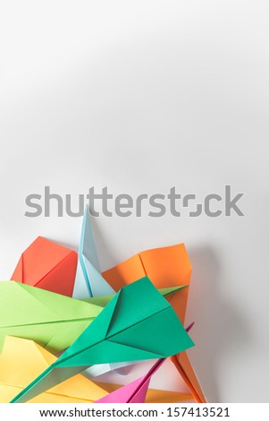 Pile of Colorful PaperJets - stock photo