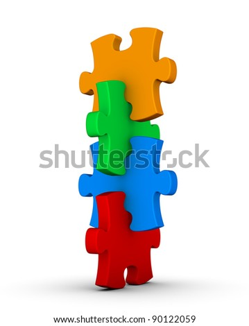 pile of colorful puzzle - stock photo