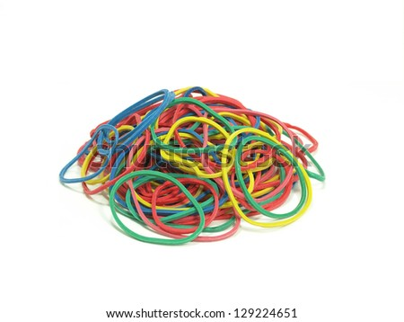 pile of colorful rubber bands on white background
