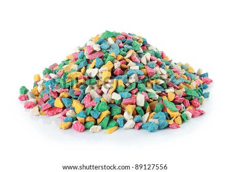 pile of colorful stone isolated over white background