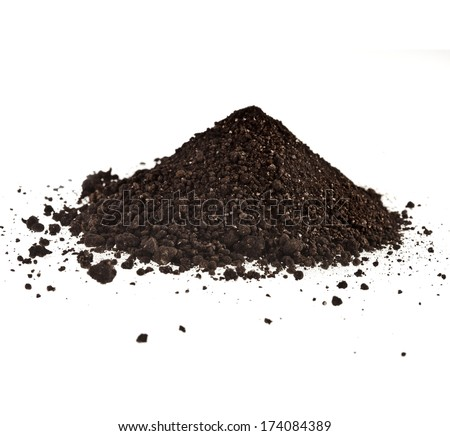 Pile of composition of the iron powder and vermiculite  Isolated on White Background - stock photo
