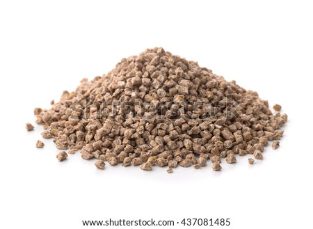 Pile of compound feed pellets isolated on white - stock photo