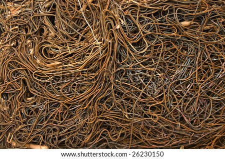 Pile of compressed iron wires for recycling - stock photo
