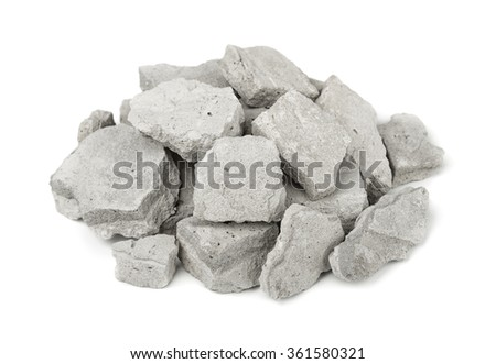 Pile of concrete rubble isolated on white - stock photo
