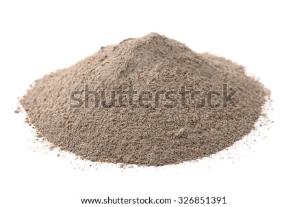 Pile of concrete sand mix isolated on white - stock photo