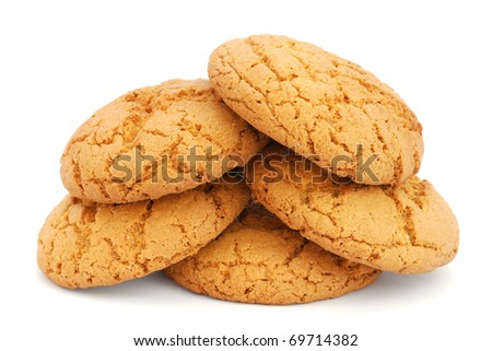 Pile of cookies isolated on white background - stock photo