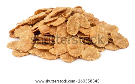 Pile of cornflake cereals isolated on white background - stock photo