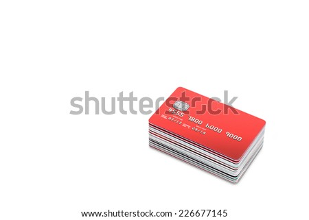 pile of Credit cards and Bank Cards on a white  background with copy space - stock photo