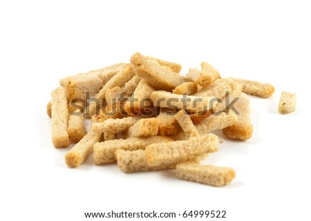 Pile of croutons on white