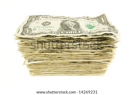 Pile of Crumpled Dollar Bills Isolated on a White Background. - stock photo