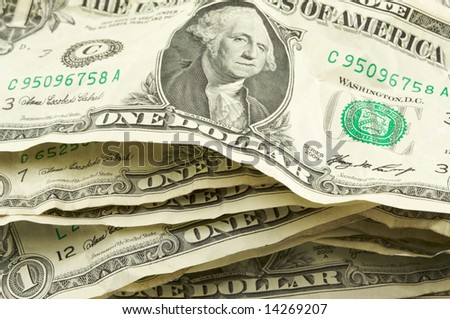 Pile of Crumpled One Dollar Bills. - stock photo
