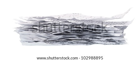pile of crumpled papers closeup on white background