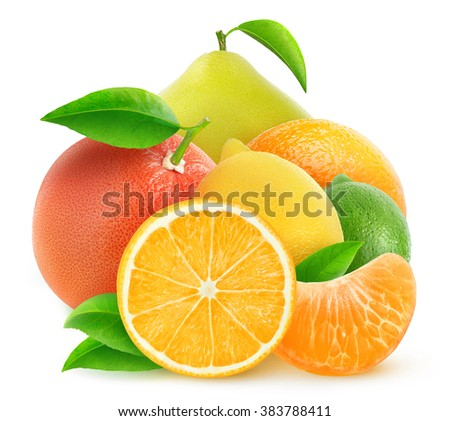 Pile of cut oranges, lemons and other citrus fruits isolated on white background with clipping path - stock photo