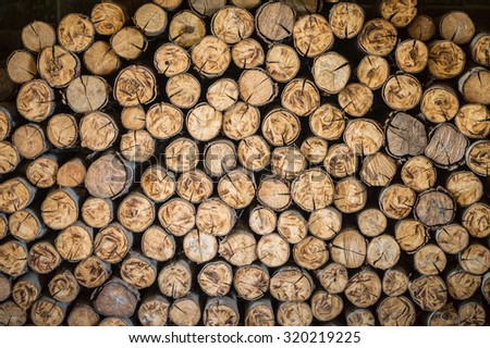 Pile of cutting wood logs. They are used for firewood. - stock photo
