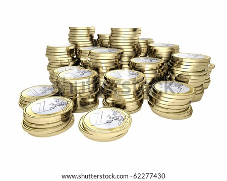 pile of 3d euro coin on white background