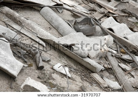 Pile of debris after the destruction of a building - stock photo