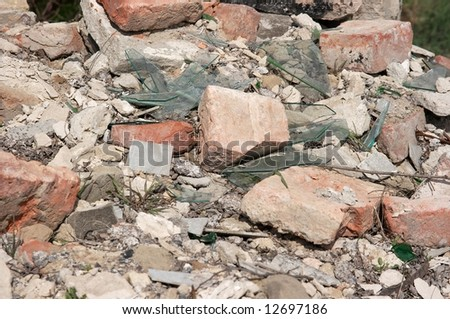 Pile of debris of a destroyed building - stock photo