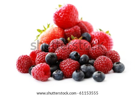 pile of delicious berry fruits on white background - fruits and vegetables - stock photo