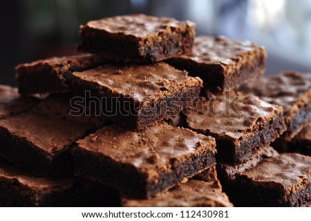 Pile of Delicious Chocolate Brownies - stock photo