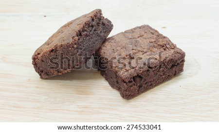 Pile of Delicious Chocolate Brownies isolated background - stock photo