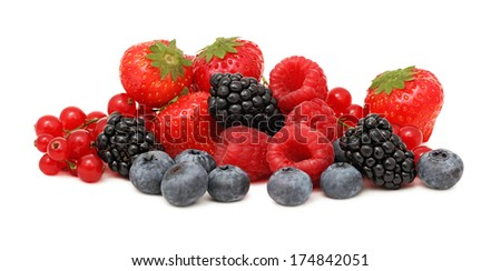 Pile of different berries (blueberry, raspberry, strawberry, red currant and blackberry) isolated on white background - stock photo