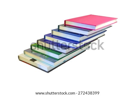 Pile of different books isolated on a white background - stock photo