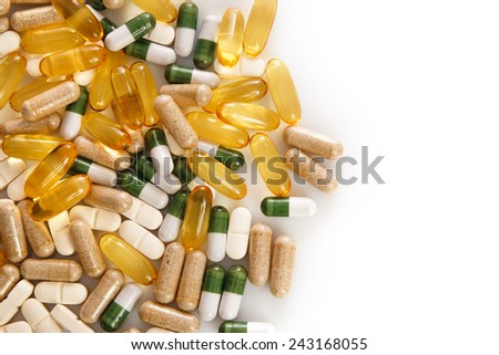 Pile of different colorful pills