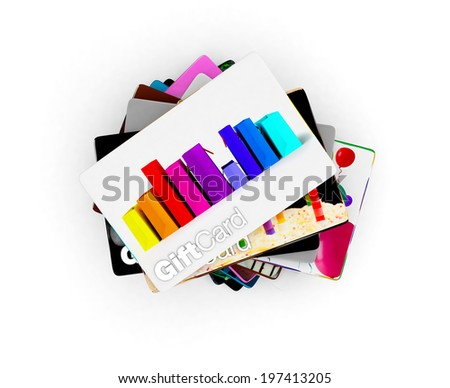 Pile of different designs for a wide range of gift acrds, - stock photo
