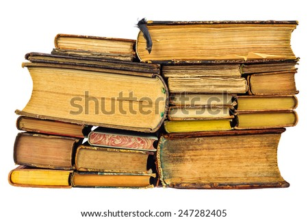 Pile of different old used books isolated on a white background - stock photo