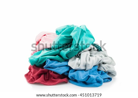 pile of dirty laundry Isolated on white - stock photo