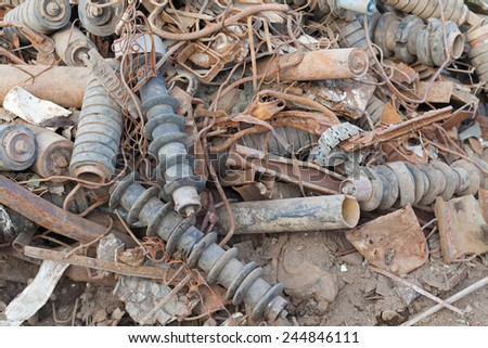 pile of dirty rusted metal parts - stock photo